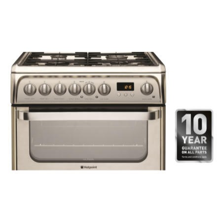Hotpoint HUD61XS Ultima 60cm Double Oven Dual Fuel Cooker - Stainless Steel