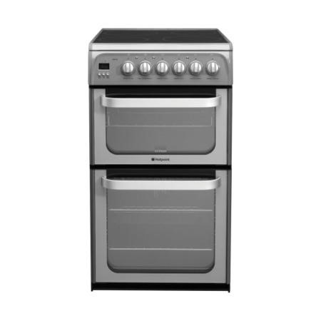 HOTPOINT HUE52GS 50cm Double Oven Electric Cooker With Ceramic Hob - Graphite