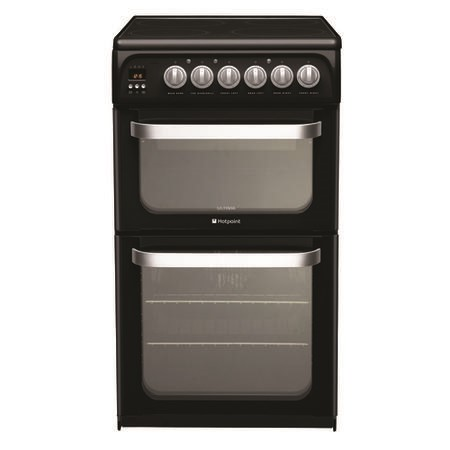 Hotpoint HUE52KS 50cm Wide Double Oven Electric Cooker With Ceramic Hob - Black