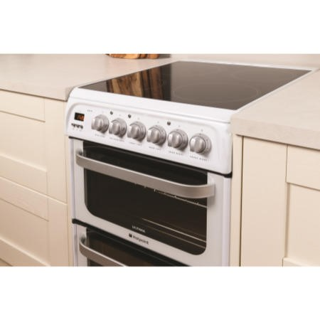 Hotpoint HUE52PS 50cm Double Oven Electric Cooker With Ceramic Hob - White