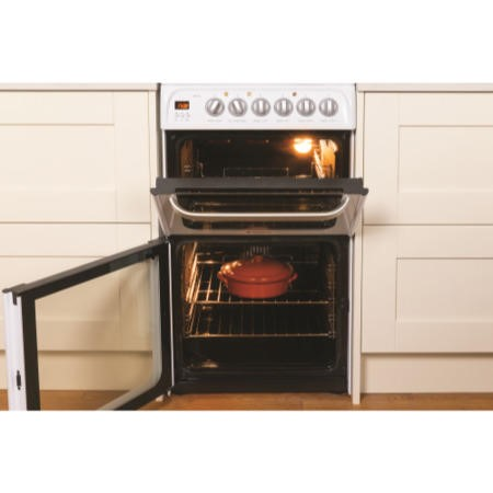 Hotpoint HUE52PS 50cm Wide Double Oven Electric Cooker With Ceramic Hob - White