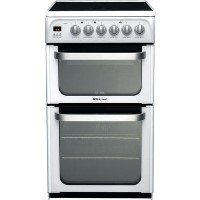 Hotpoint HUE53PS 50cm Double Oven Electric Cooker With Ceramic Hob - White
