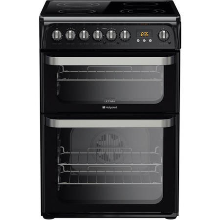 Hotpoint HUE61K Ultima 60cm Double Oven Electric Cooker With Ceramic Hob - Black