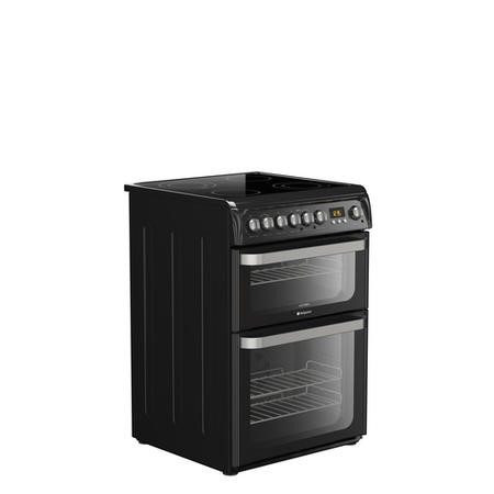 Hotpoint HUE61KS 60cm Wide Double Oven Electric Cooker With Ceramic Hob - Black