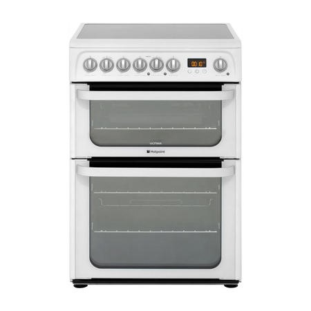 Hotpoint HUE61PS 60cm Wide Double Oven Electric Cooker With Ceramic Hob - White