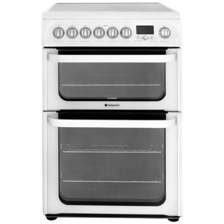 GRADE A2 - HOTPOINT HUE62PS 60cm Wide Double Oven Multifunction Electric Cooker With Ceramic Hob - White