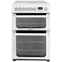 HOTPOINT HUE62PS 60cm Double Oven Electric Cooker with Ceramic Hob - White Best Price, Cheapest Prices