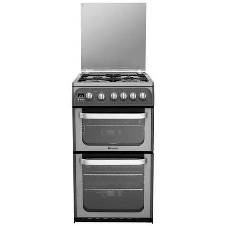 Hotpoint HUG52G Ultima 50cm Double Oven Gas Cooker in Graphite