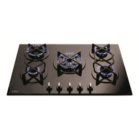 CDA HVG720BL 70cm Five Burner Gas-on-glass Hob Black
