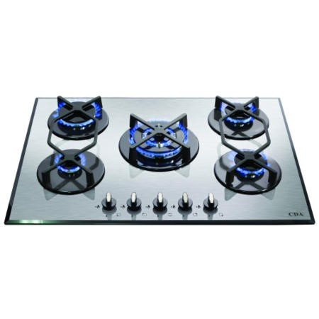 CDA HVG720SS 70cm Five Burner Gas-on-glass Hob Stainless Steel