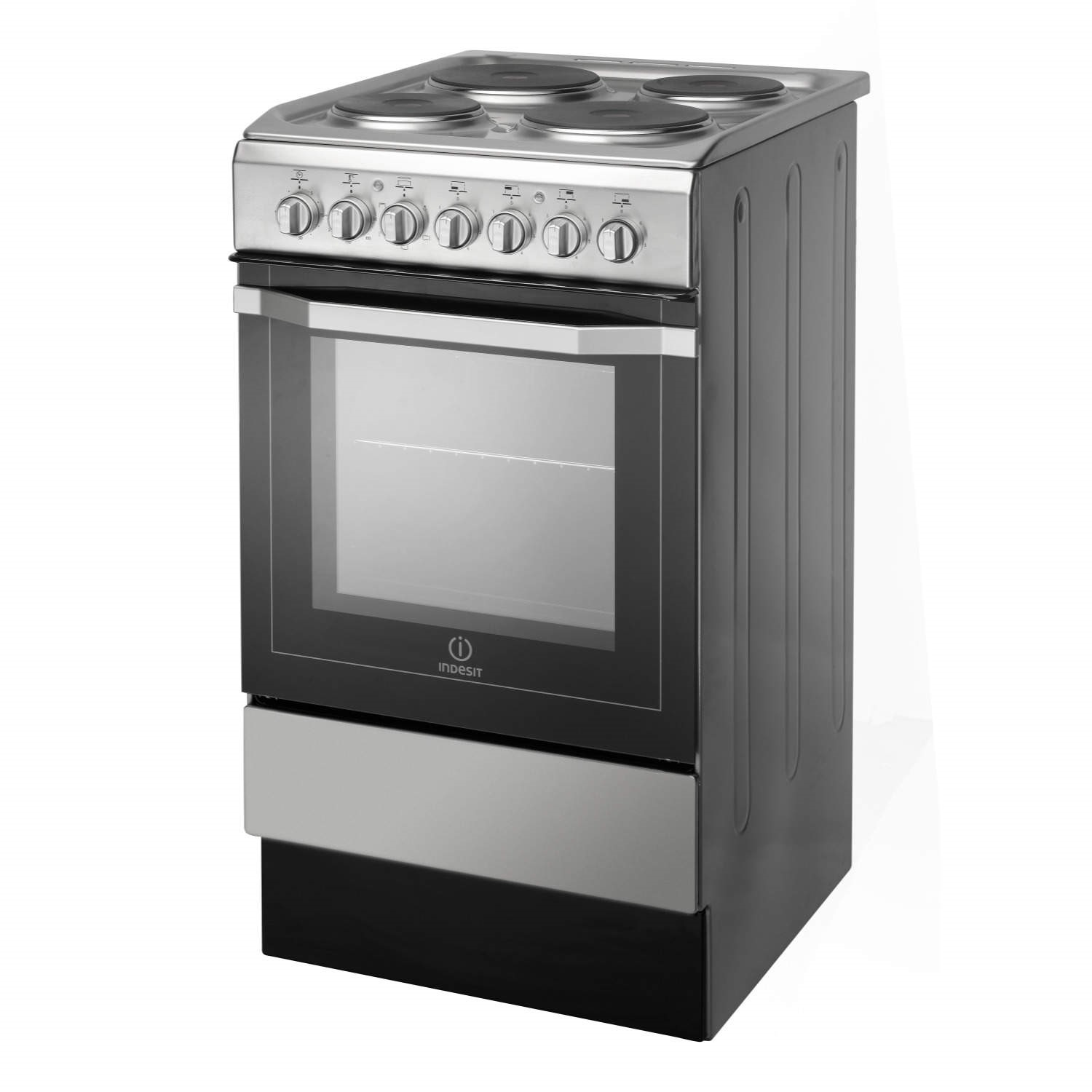 Nice Single Oven Electric Cooker Part - 11: Indesit I5ESH1X 50cm Single Oven Electric Cooker With Sealed Plate Hob  Stainless Steel