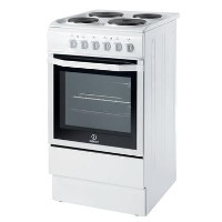 Indesit I5ESHW 50cm Electric Cooker with Single Oven and Solid Hotplate Hob - White