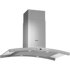 Neff I89DK62N0B Curved Stainless Steel 90cm Island Cooker Hood With Glass-accented Canopy