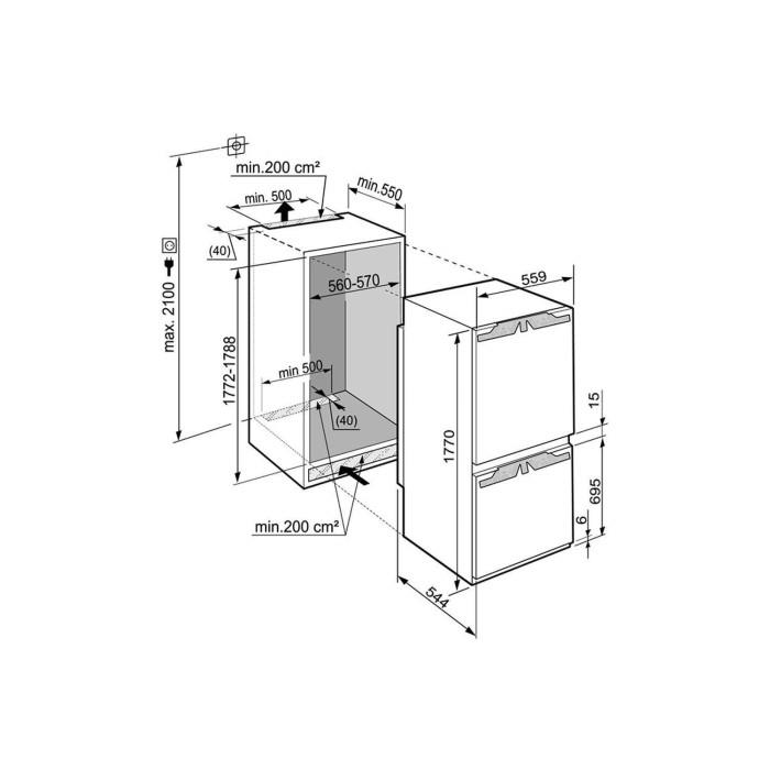 liebherr ICN3356 261 Litre 177x56cm NoFrost 70-30 Door-on
