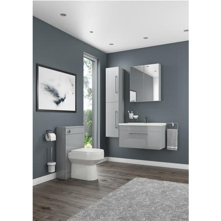 Moderno Grey Wall Mount Tall Bathroom Storage Cabinet - 300mm Wide