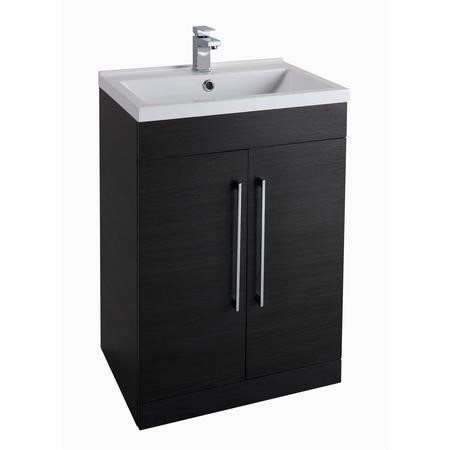 Black Free Standing Bathroom Vanity Unit - Without Basin - W600 x 820mm