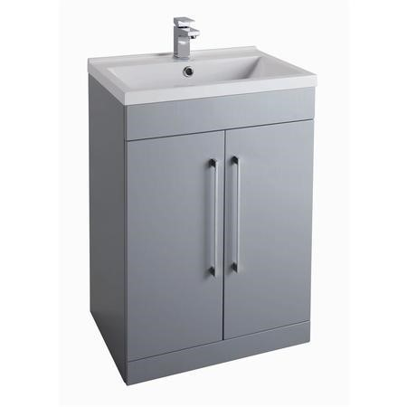 GRADE A2 - Grey Free Standing Bathroom Vanity Unit -2 Door - Without Basin - W600mm