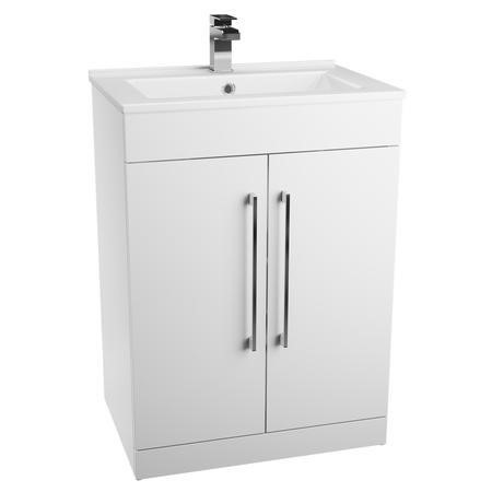 White Free Standing Bathroom 2 Door Vanity Unit - Without Basin - W600mm