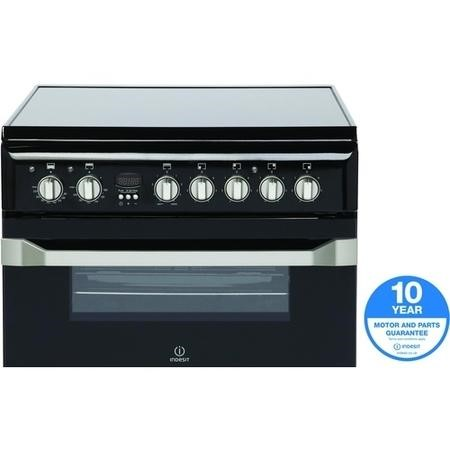Indesit ID60C2KS 60cm Double Oven Electric Cooker With Ceramic Hob Black