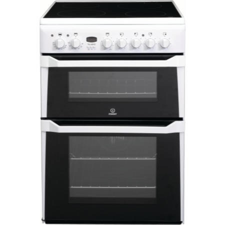 Indesit ID60C2WS 60cm Double Oven Electric Cooker With Ceramic Hob - White