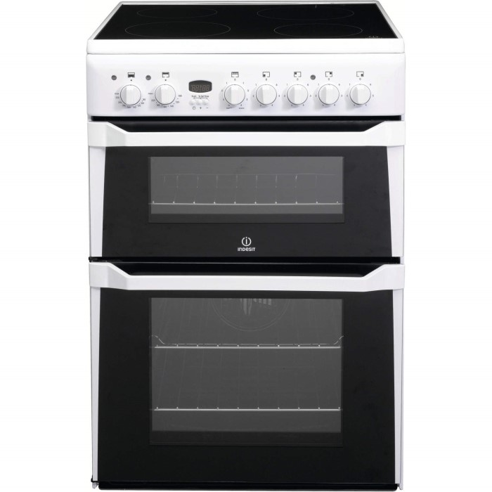 indesit id60c2ws 60cm double oven electric cooker with. Black Bedroom Furniture Sets. Home Design Ideas