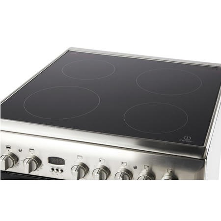 Indesit ID60C2XS 60cm Wide Double Oven Electric Cooker With Ceramic Hob - Stainless Steel