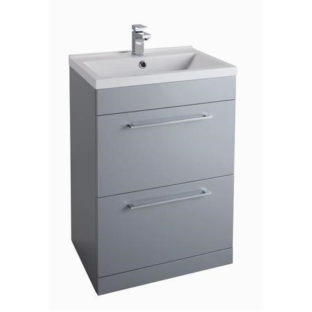 Grey Free Standing Bathroom Vanity Unit - 2 Drawer - Without Basin - W600mm