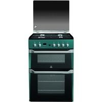 Indesit ID60G2N 60cm Double Oven Gas Cooker Green