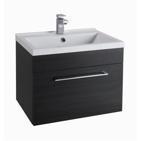 Black Wall Hung Bathroom Vanity Unit - Without Basin - W600mm