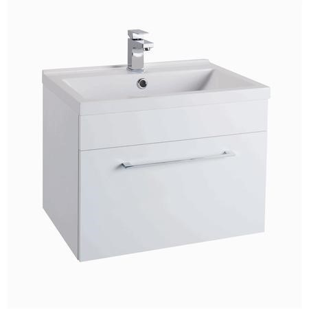 Moderno Gloss White Wall Mounted Vanity Basin Unit - Without Basin - 600mm