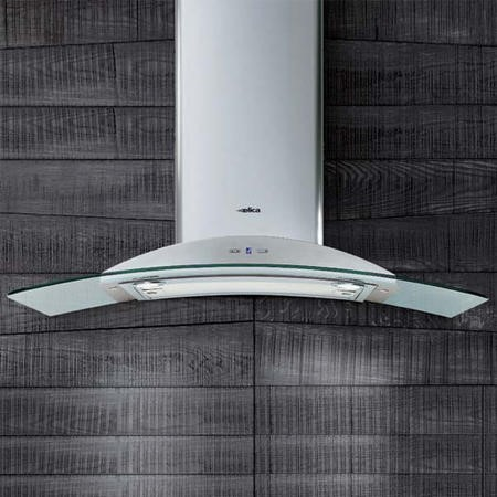 Elica IGLOO-TC IGLOOTC Igloo Touch Control Curved Glass 90cm Chimney Cooker Hood Stainless Steel