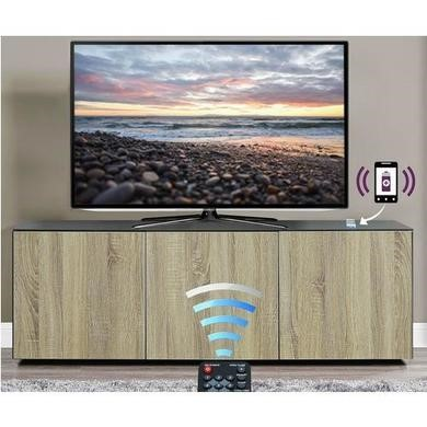 "Frank Olsen INTEL1500GRY-OAK Grey and Oak TV Cabinet for up to 70"" TVs"