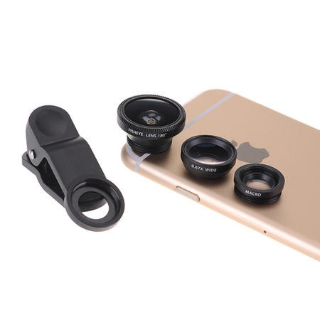 3in1 Camera Lens Attachments for Perfect Mobile Phone Pictures - FishEye +  WideAngle + Macro