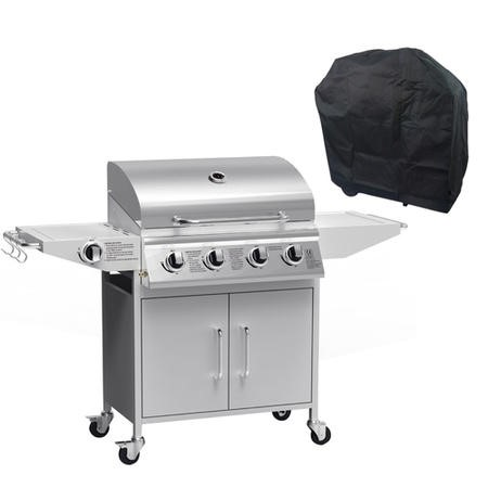 iQ 4 Burner Gas BBQ with Side Burner. Free Accessory Pack Includes BBQ Cover and Utensil Set