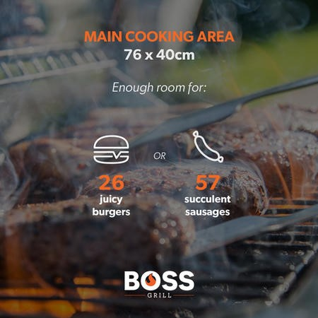 The Kentucky Premium 6 Burner Black Gas BBQ with Side Burner - Includes BBQ Cover and Utensil Set
