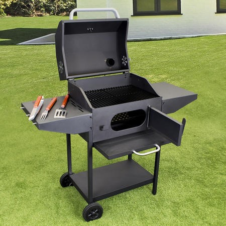 Charcoal American Grill BBQ with Chimney Smoker Function - Includes BBQ Cover Utensil Set