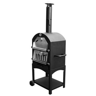 3-in-1 Charcoal Outdoor Pizza Oven BBQ & Smoker - Includes BBQ Cover and Utensil Set