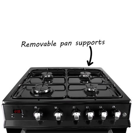 iQ 60cm Gas Cooker with Double Oven in Black
