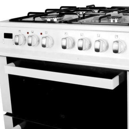 electriQ 60cm Dual Fuel Cooker with Double Oven in White