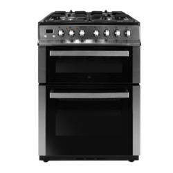 GRADE A2 - iQ 60cm Double Oven Dual Fuel Cooker - Stainless Steel