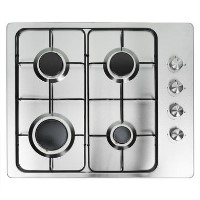 electriQ 60cm Stainless Steel 4 Burner Gas Hob