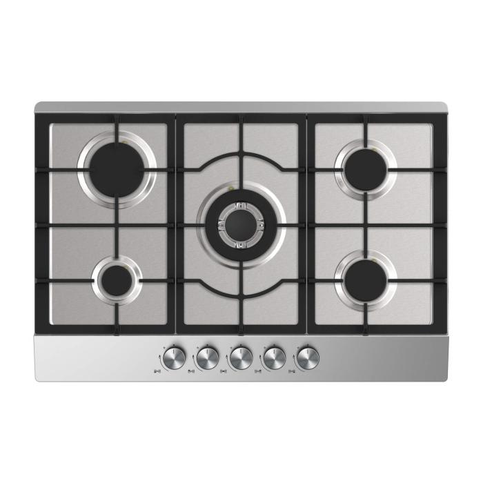 Electriq 75cm Stainless Steel 5 Burner Gas Hob Iqgh75s Appliances