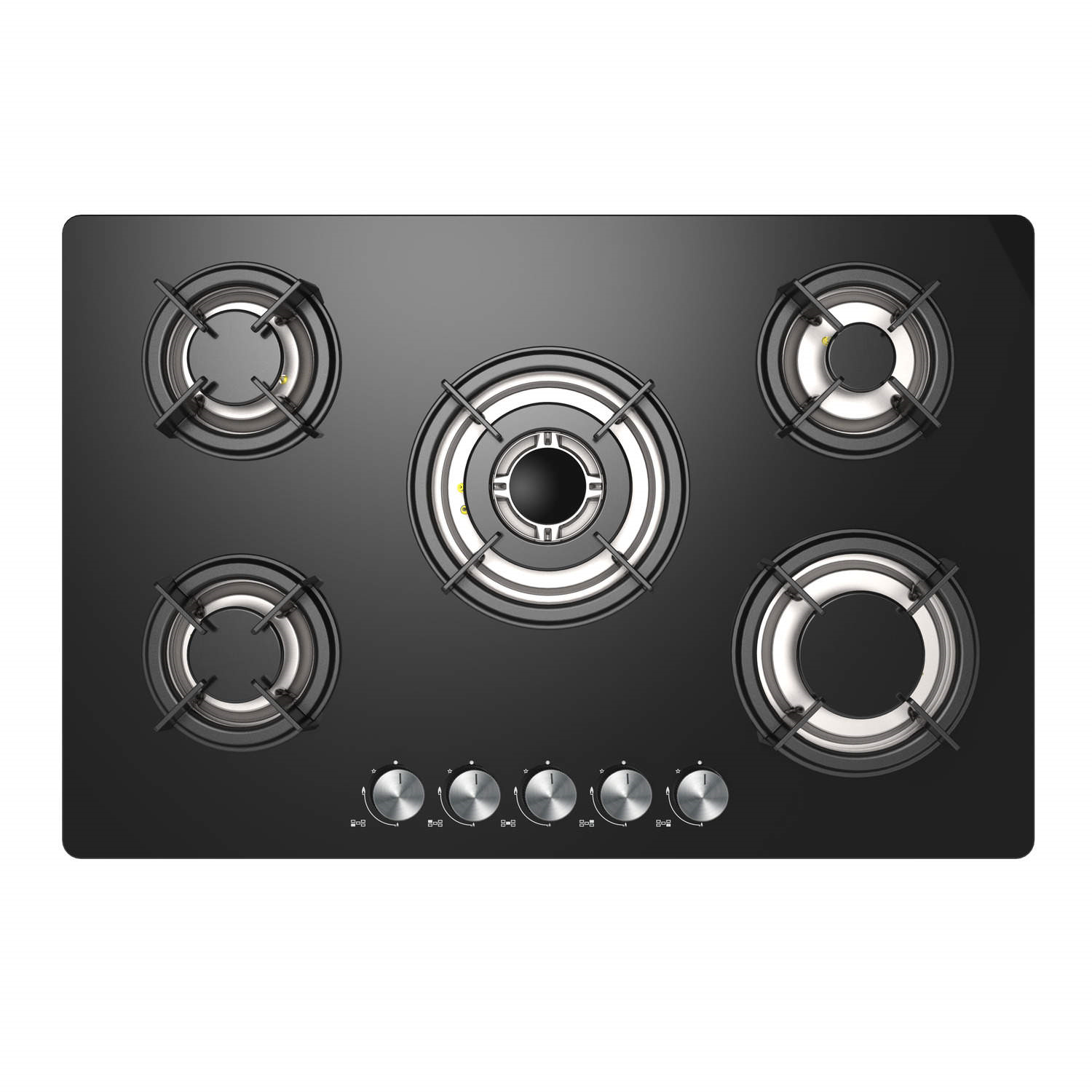 Iq 77cm Black Glass On Gas 5 Burner Gas Hob Iqgh77b