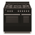 90cm Dual Fuel Double Oven Range Cooker Black
