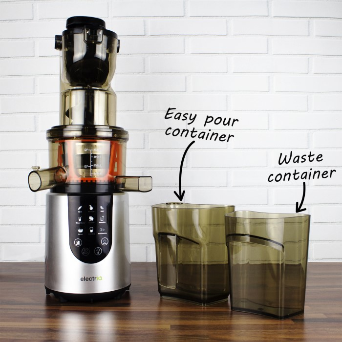 electriQ Slow Whole Fruit Juicer perfect for Cold Pressed Greens Juices and Smoothies IQWFSL ...