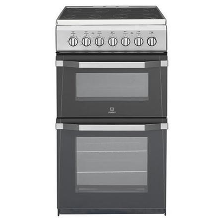 Indesit IT50C1S 50cm Double Oven Electric Cooker with Ceramic Hob - Silver