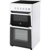 Indesit IT50CWS 50cm Wide Double Cavity Electric Cooker With Ceramic Hob White Best Price, Cheapest Prices