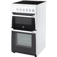 Indesit IT50CWS 50cm Double Cavity Electric Cooker With Ceramic Hob White Best Price, Cheapest Prices
