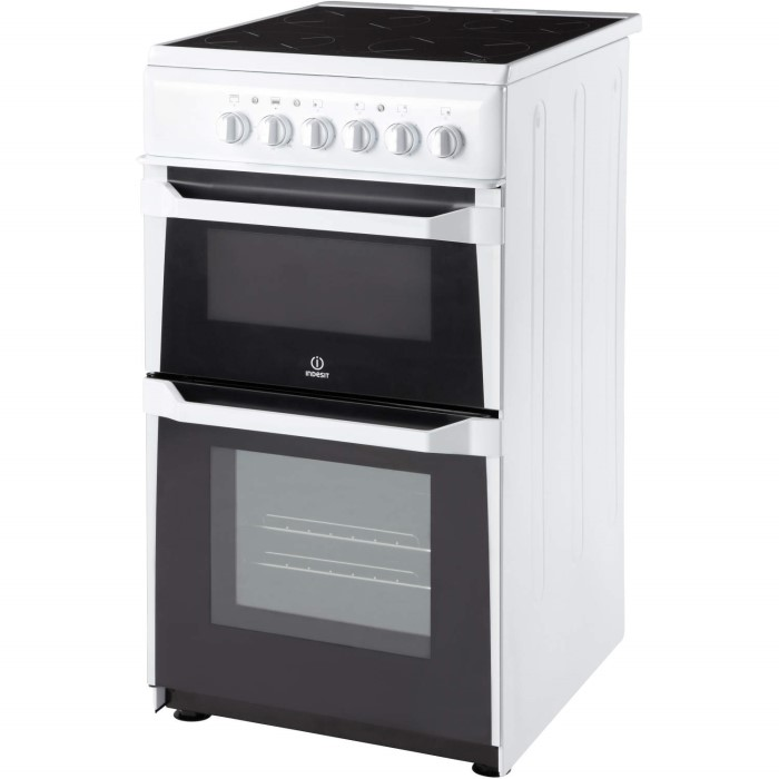 Indesit it50cws 50cm wide double cavity electric cooker for Kitchen cabinets 50cm wide