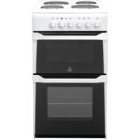 Indesit IT50EWS Double Cavity 50cm Electric Cooker With Solid Plate Hob White